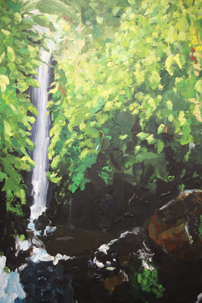 Painting of impression of a waterfall by Eline Boerma