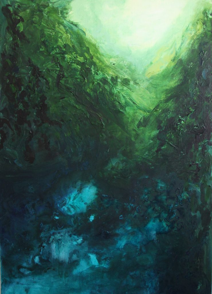 Painting of an impression of a rainforest with blue and green