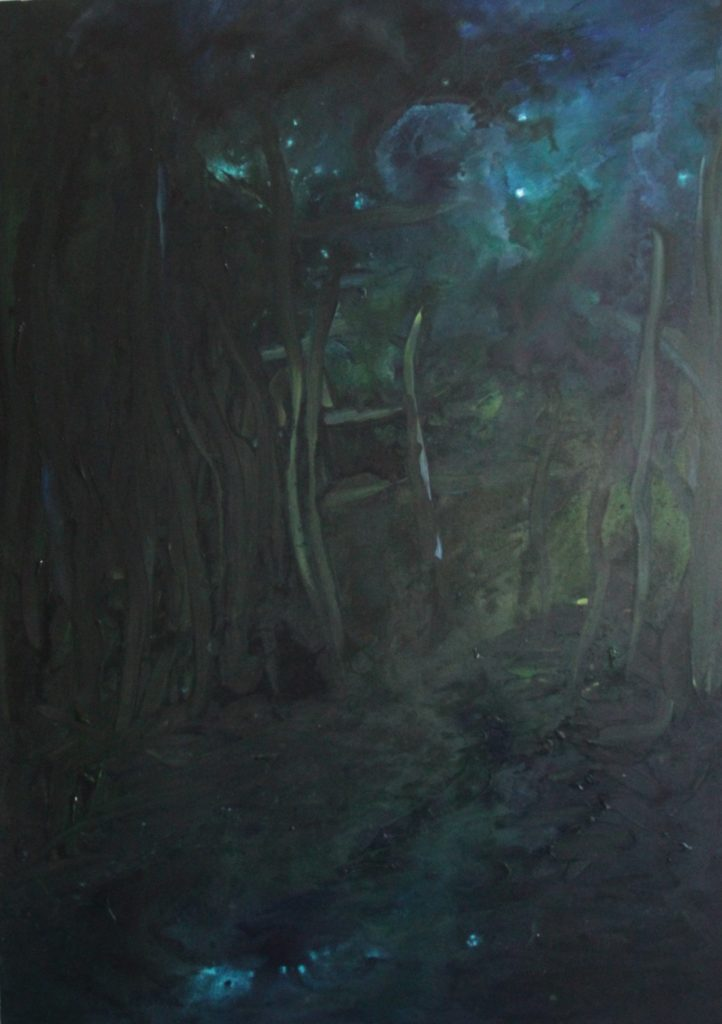 Painting of impression of a forest at night by Eline Boerma