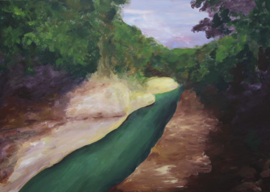 Painting of impression of a landscape with a canyon by Eline Boerma