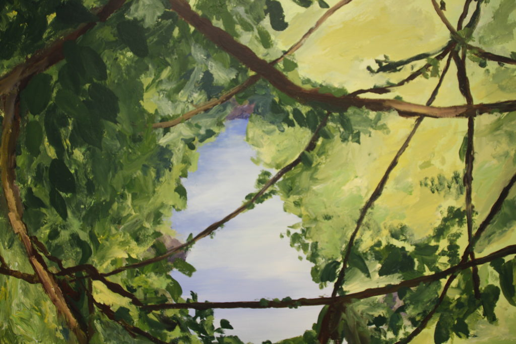 Painting of impression of a landscape with river and branches by Eline Boerma